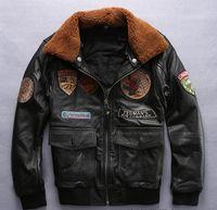 TEDMANS hommes veste en cuir de vachette commande aérienne Multi badge broderie fourrure col air force costumes