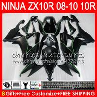 8Gifts KAWASAKI NINJA ZX1000C ZX10R Için 23 Renkler Vücut 09 09 10 Düz siyah 47HM19 ZX1000 C ZX 10 R ZX-10R ZX 10R 2008 2009 2010 Fairing kit