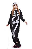 2017 Unicornio Cráneo Esqueleto Unisex Franela con capucha Pijamas Disfraces de Anime Cosplay Animal Kigurumi Onesies Ropa de dormir Traje de una pieza Pijamas