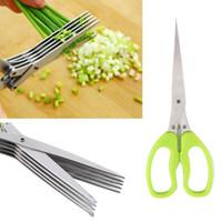 JA13 متعدد الوظائف الفولاذ الصلب سكاكين المطبخ 5 طبقات مقص السوشي البصل الأخضر تمزيقه قطع عشب البهارات مقص أدوات الطبخ