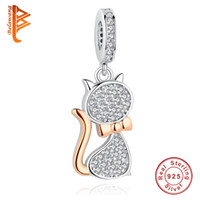 BELAWANG New 925 Sterling Silver Rose Gold Charms Lovely Cat...