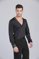2018 por encargo hacer que los hombres / camisa de baile latino Boys' vestido de baile Rumba Samba Cha-cha para adultos / niños danza viste de Práctica América Tops