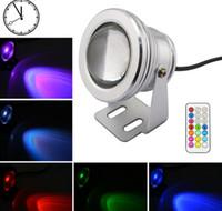 Impermeable Led luz subacuática que cambia RGB LED piscina estanque fuente lámpara 10W 12V RGB reflector con 24Key IR remoto