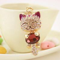 Lucky Smile Cat Crystal Rhinestone Portachiavi Portachiavi Titolare Borsa Borsa per auto regalo di Natale portachiavi gioielli llaveros