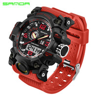 2017 neue Mode Sanda Marke Dual time Digital Sport Uhr Wasserdichte S-Shock herren Luxus Led Digital Chrono Relogio Masculino
