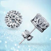 Группа новый свадебный Корона свадьба Стад серьги 2017 новый стерлингового серебра 925 CZ имитация алмазов участия красивые ювелирные изделия Кристалл серьги