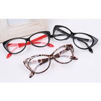 الجملة-خمر الأحمر ليوبارد الأسود نظارات إطار الأزياء الكلاسيكية عيون القط تصميم واضح عدسة النظارات النظارات الإطار للنساء
