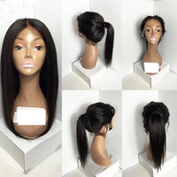 Synthetic lace front silky straight wig glueless black heat ...
