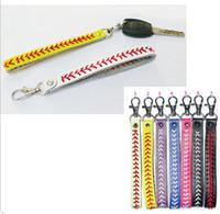 10pcs softball portachiavi nuovo 7colors dell'arrivo portachiavi di baseball, softball fastpitch portachiavi cucitura accessori di baseball per il regalo