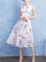 Tea Length Purple Flower Butterfly Printed Prom Dresses Roun...