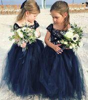 Bleu Marine Dentelle 2018 Arabe Fille Fleur Robes Pas Cher Robe De Bal Tulle Enfant Robes De Mariée Vintage Petite Fille Pageant Robes FG09
