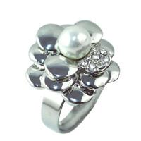 Bague de mariage de fleur rose perle pour les femmes Bijoux - perle pendentif strass charme anneaux de mariage bagues bijoux nouveaux anneaux | RN-496