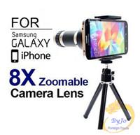 8х зум камеры телескопа цель телефона Объектив для iPhone 6 6plus 5S Samsung S6 S5 Optical Telescope камера Kit + Мини штатив