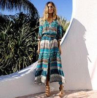 New Bohemian Fashion Femmes Long Beach Dress Floral Stripe Imprimé V Neck Dress Lady Casusal Robes 10 Couleurs C3035
