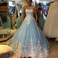 Синие Quinceanera платья 2019 бальное платье длиной до пола Vestidos De 15 Anos 16 платья без бретелек Белый Аппликация Quinceanera платья