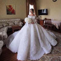 Luxury Lace Ball Gown Wedding Dresses Saudi Arabia Off The S...