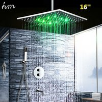 "hm LED Shower Set with 16"" Square Thermostatic Showerhe..."