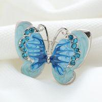 Al por mayor-Hermosa mariposa Bule pequeño broche de insectos alfileres de plata chapado en cristal Broches mujeres decoración accesorios de ropa de la joyería