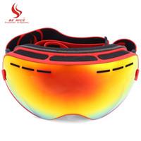 니스 더블 렌즈 UV400 안티 - 안개 큰 구형 스키 안경 겨울 스포츠 보호 스노우 보드 스키 안경 고글 안경 + B 수
