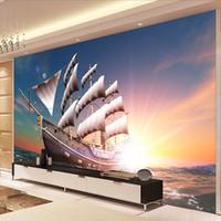 Пользовательские фото обои большие стены живопись 3D стереоскопический гладкий Парусный спорт вид на море гостиная ТВ фон украшения Murale
