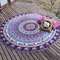 Round PVA Compressed Specical Round Indian Elephant Towel Scarve Fashion  Mandala Tapestry Beach Picnic Throw Rug Blanket Polyester Cotton Beach Towel