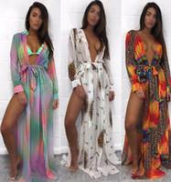 깊은 V 스플릿 비치 맥시 드레스 섹시한 Boho 긴 소매 레오파드 꽃 프린트 여성 수영복 비키니 블라우스 스커트 도매 -2007