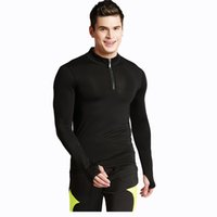 Men' s tight elastic fast- drying long- sleeved sports T- s...