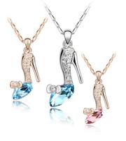 Moda Áustria sapatas de cristal colar de cadeias SilverGold senhoras strass salto alto altos encantos de sapato colares para as mulheres Jóias