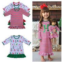 2017 otoño invierno de los bebés de Navidad del camisón vestido de la colmena de Navidad para niños niñas pijamas rojos y vestido de la raya blanca de algodón ropa de dormir Pjs