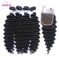 5PCS Lot Malaysian Deep Wave Curly Virgin Hair With Closure Malaysian Lace Closure med 4 buntar Malaysian Deep Wave Wavy Human Hair Weaves