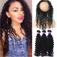 Free Shipping 360 Lace Frontal With Bundles Deep Wave Brtazilian Virgin Hair With Closure Hot 360 frontal with bundles Human Hair Products