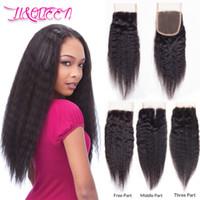 Brésilien Kinky Straight Virgin cheveux 4x4 fermeture de lacet Kinky cheveux raides naturel noir 100% naturel de LiQueen cheveux