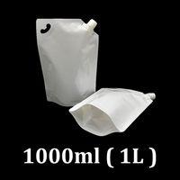 1L Bianco Plastic Food Grade DoyPack Pack Pack 1 L Sacchetto di imballaggio Standup con beccuccio di riempimento angolare per acqua di latte liquido