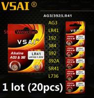 20pcs 1 lot AG3 LR41 192 384 392 392A SR41 L736 1.55V Alkaline Button Cell Battery coin batteries VSAI Free Shipping