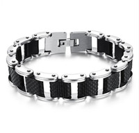 Square Genuine Sillcone Mens Bracelet Stainless Steel Motorc...