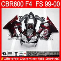 8Gifts 23Colors Carrosserie Pour HONDA CBR 600 F4 99-00 CBR600FS FS 30HM12 flammes rouges CBR600 F4 1999 2000 CBR 600F4 CBR600F4 99 00 Kit de carénage