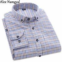 Al por mayor-AlexNamgyal AL49 2016 otoño nuevos hombres de manga larga  camisa a cuadros 4d9ece6f2d2