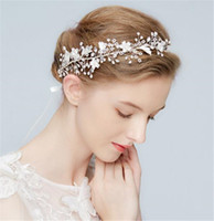 Düğün Gelin Taç Tiara Kristal Çiçek Kafa Rhinestone Saç Aksesuarları Takı Başlığı Gümüş Boncuk Headdress Balo Saç Takı