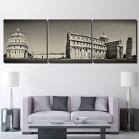 3 piece Printed Leaning Tower of Pisa building Painting Canv...