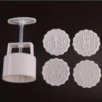 100g runde form Konventionelle blume mid-autumn mond kuchenformen mit 4 stempel kunststoff handdruck chinesischen mond kuchenform, 5 sätze / los.