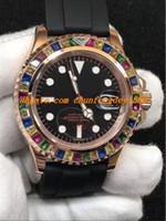 Montre-bracelet de luxe 2017 montre de mode bracelet en caoutchouc 40mm Rainbow Diamond Watch de Montres pour hommes automatiques Nouvelle arrivée