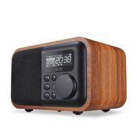 멀티미디어 나무 블루투스 핸즈프리 마이크 폰 스피커 iBox D90 FM 라디오 알람 시계 TF / USB MP3 플레이어 레트로 나무 상자 대나무 서브 우퍼