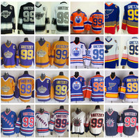 Heroes Of Hockey Wayne Gretzky Trikots No.99 Edmonton Oilers St. Louis Blues Rangers LA Kings Klassiker Herren Gretzky Hockey Trikots C-Patch