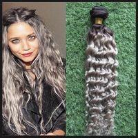 T1B / седые наращивания волос Weave Kinky Кудрявые человеческие волосы пакеты 100 г 1 шт. / Лот Оммре седые волосы плетение, двойное, без провала