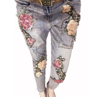 Wholesale- 3D Flower Jeans Sequins Beading Trousers Stretch ...