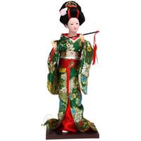 Bambola di stoffa Bambola giapponese kimono fatta a mano Statuina bambola di seta geisha umana
