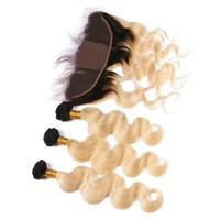 1B / 613 옴브 실크베이스 13x4 레이스 정면 클로저 번들 바디 웨이브 금발 옹 브르 실크 톱 레이스 정면과 인간의 머리카락