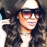 Plano Top Gafas de sol Mujeres Gran Marca Gafas de sol Espejo Retro Tortuga Sombra Boutique Gafas Kim Kardashian Sunglasses Lunettes