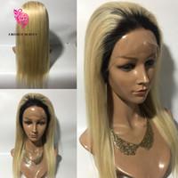 Blonde volle Spitze-Perücke 130% Dichte Glueless volle Spitzeperücken mit dem Baby-Haar 1b # 613 Brasilianische blonde Menschenhaar-Perücke-dunkle Wurzeln
