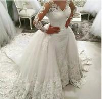 Vestidos de novia de la sirena de encaje de lujo para apliques 2019 MODERNA DE DUBAI MANGAS LARGAS ERRIJA SHEER CORRIR TREN VIERTOS NOMBRES DE TULLO DE TULLLE ROPOVABLE